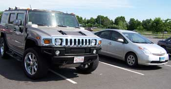 Hummer v. Prius. Photo by Bet Zimmerman.
